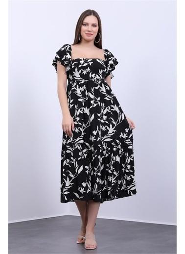 Deri Effect Kadın Desenli Volanlı Elbise Siyah